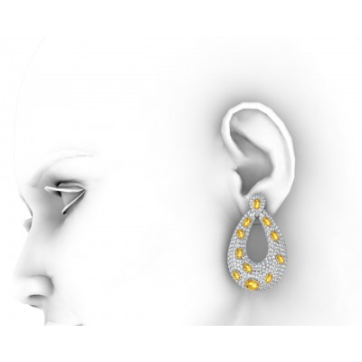 Abeena Party wear Diamond Look Silver Danglers